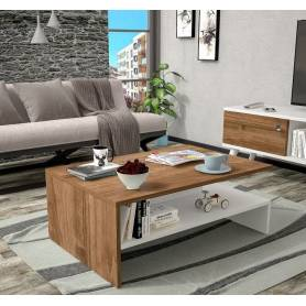 Table a café - 90*40*50 - MDF - Blanc &Effey bois
