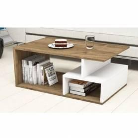 Table a café - MDF - Blanc & Effet Bois