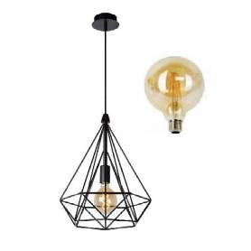 suspension cage Diamant - avec lampe G95 filament - E27- Noir