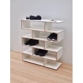 Porte chaussure Intro - 70*105 *30 cm - Bois MDF - Blanc&Beige