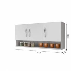 Rangement haut de cuisine -  HT3 - Bois MDF - Blanc
