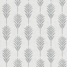Papier peint feuille ethnique gris pâle - Ref 11191109