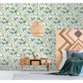 Papier peint PLANTES VERT ET BLANC - Ref 51196204