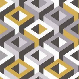 Papier peint 3D graphique carré jaune & gris - Ref 51186902