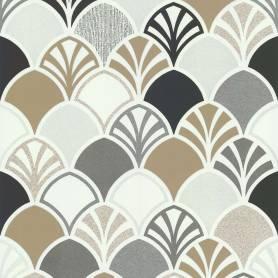 Papier peint Ecailles Arcade gris et doré - Ref 51193109