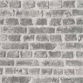 Papier Peint Brique gris argent - Ref 51151009