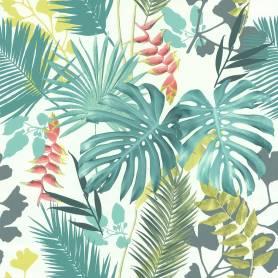 Papier peint Jungle Mix vert et corail - Ref 51178304