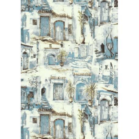 Papier peint Ruelles medina bleu - Ref 51177901