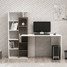 Bureau étagère  -Bois MDF Blanc & marron - 160*75*60 - Blanc & Chêne