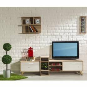 Meuble TV KODY - Bois MDF - Blanc & Chêne