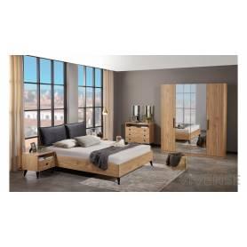 Chambre à coucher Katherine - MDF Stratifié Chêne