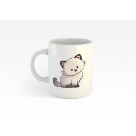Mug Céramique70 - cute cat - Blanc