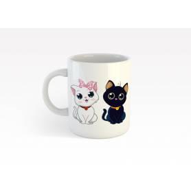 Mug Céramique68 - deux chats - Blanc