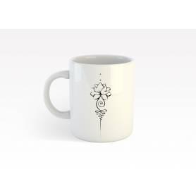 Mug Céramique61 - fleur 1 - Blanc