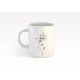 Mug Céramique60 - fleur - Blanc