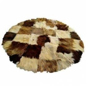 Tapis – Peau de chèvre poils longs – Déco vintage – Mosaïque