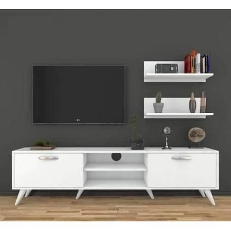 Elément TV blanc - Bois MDF - 180*48*35