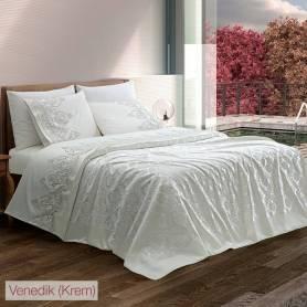 Couvre Lit Venedik - 100% coton satiné - Blanc