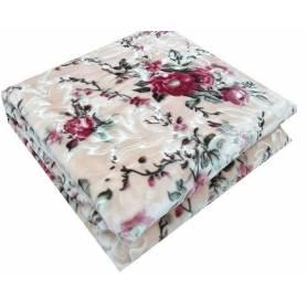 Flora Couverture - Fleurie Beige & Rose
