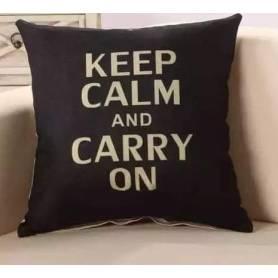 Coussin Keep Calm And Carry On 40*40cm noir