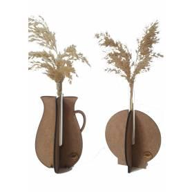 Deux Vases à fleur pampa séchée -  Bois & Verre - Marron