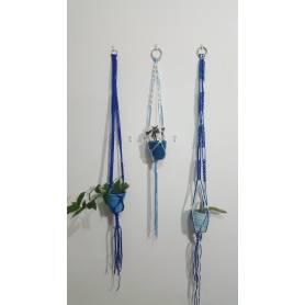 Porte plante  - macramé - Bleu et Blanc