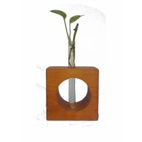 Vase A Fleur - Bois & Verre - Marron