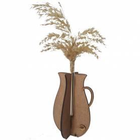 Vase A Fleur Pampa Séchée -  Bois & Verre - Marron