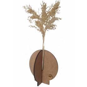 Vase Rond A Fleur Pampa Séchée -  Bois & Verre - Marron