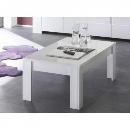 Table basse rectangulaire Flora-90x70x38cm- Mdf stratifié blanc