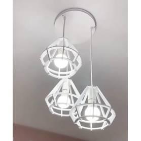 Suspension 3 Lampes Ø20 en Bois – Blanc