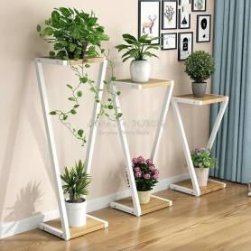 Support  Pour Pot de fleurs - fer et bois