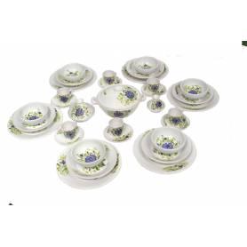 Service à table poterie  Fleurs violet|36 pièces