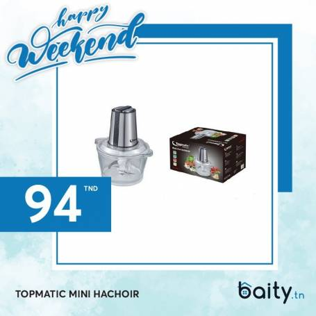 Happy Weekend  | Topmatic Mini Hachoir - 300W - Verre 1.6L Double Lame - Produit Germany - Garantie 1 An