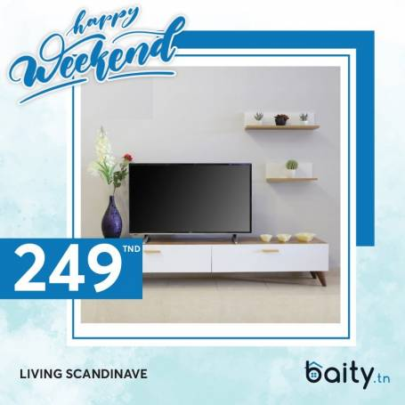 Happy Weekend |Living Scandinave - 180*41*32 - Bois Mdf - Blanc & effet bois