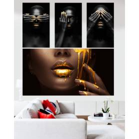Tableaux décoratifs - femme black - 4 pièces