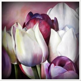 Tableau décoratif en toile - tulip flowers - 100 x 100 cm