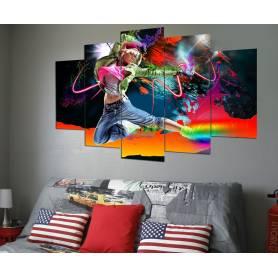 Tableau décoratif hip hop - 5pces en UN - 84 x 130 cm