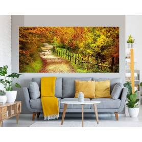 Tableau décoratif - allée chemin forêt bâche enduis - 75 x 170 cm