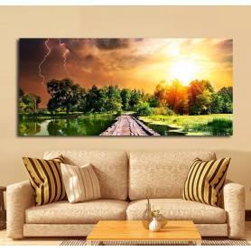 Tableau décoratif - 75 * 170 cm - Bâche souple - Reflet couché orage