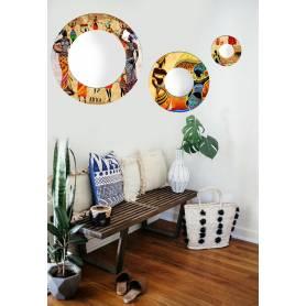 Miroir circulaire 3 pces - Femme Africana - 60cm/40cm/20cm