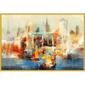 Tableau décoratif en toile - ville abstrait - 80 x 120 cm