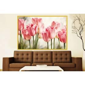 Tableau décoratif en toile - tulipe rose - 80 x 120 cm