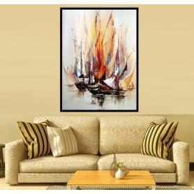 Tableau décoratif en toile - bateaux - 80 x 110 cm