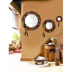 Miroir circulaire 3 pces - Texture africain - 60 cm / 40cm / 20cm
