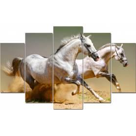 Tableau décoratif 5 pièces - chevaux blancs - 84*130 cm
