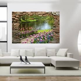 Tableau décoratif brique jardin - 120 x 80 cm