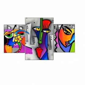 tableau décoratif - femme africana - 3pèces en UN - 100 x 60 cm