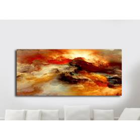 Tableau décoratif abstrait miel - 170x75 cm