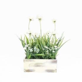 Plante Artificielle avec pot en Bois - 17 X 7 Cm